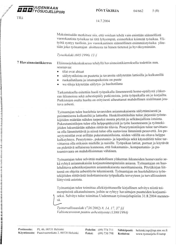 Tyosuojelutarkastus 2004 sivu 1